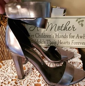 Zara Heels with ankle strap silver